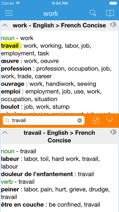 Dict Box - English French bidirectional version iPhone Screenshot 2