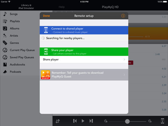 PlayMyQ HD - Music Player • Remote Control • Jukebox Screenshots