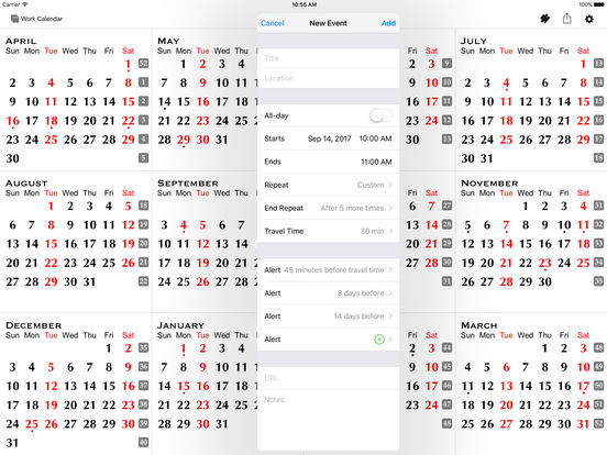 All-in-One Year Calendar (Planner) – Sync, Events, Markups, Notes, Holidays, Birthdays, Fiscal Week Numbers, ... iPad Screenshot 4