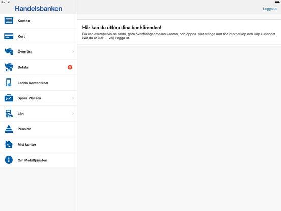 Handelsbanken Mobiltjänst iPad Screenshot 1