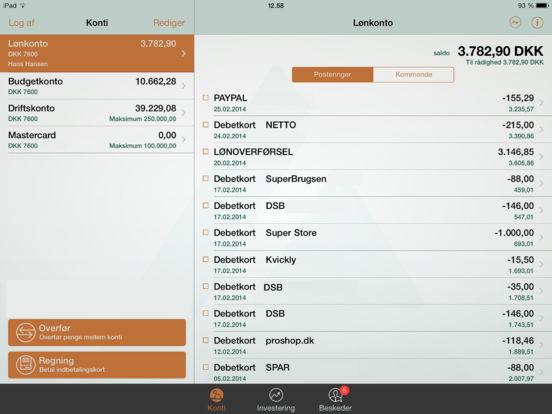 Danske Andelskassers mobilbank iPad Screenshot 1