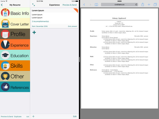Pocket Resume iPad Screenshot 1