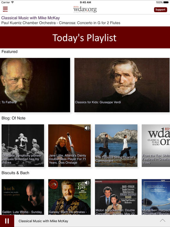 WDAV Classical Public Radio App screenshot