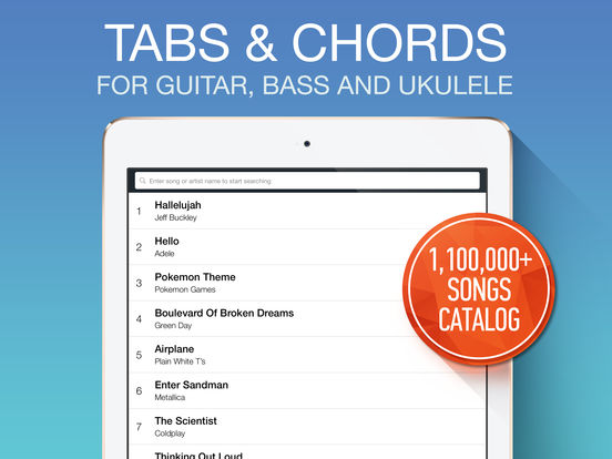 Ultimate Guitar Tabs HD - largest catalog of songs with guitar and ukulele chords, tabs and lyrics screenshot