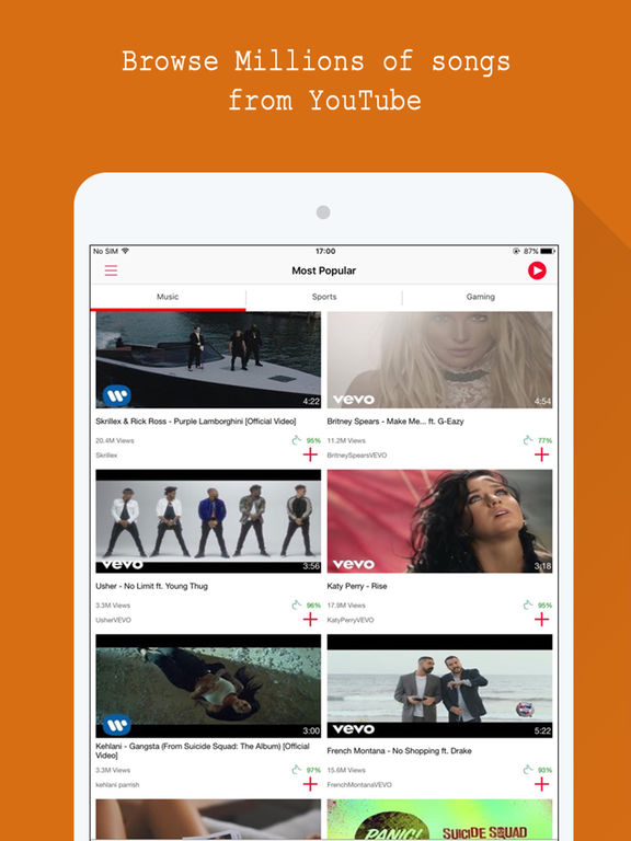 Screenshots of Free Music - for Youtube music video.s stream.ing player for iPad