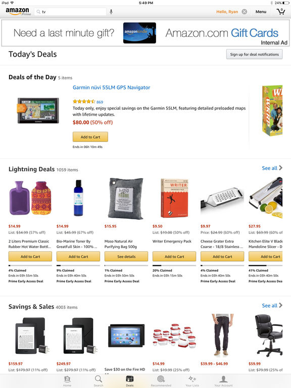 Screenshots of Amazon App for iPad