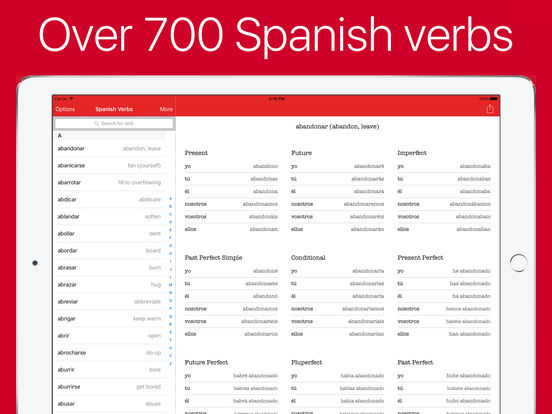 Spanish Verb Conjugator (audio for top verbs) Screenshots