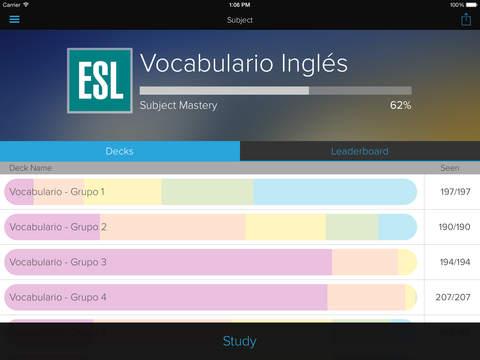 English Vocabulary for Spanish Speakers, by Brainscape iPad Screenshot 1