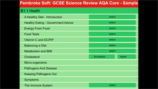 Sample AQA Single award GCSE Science Review
