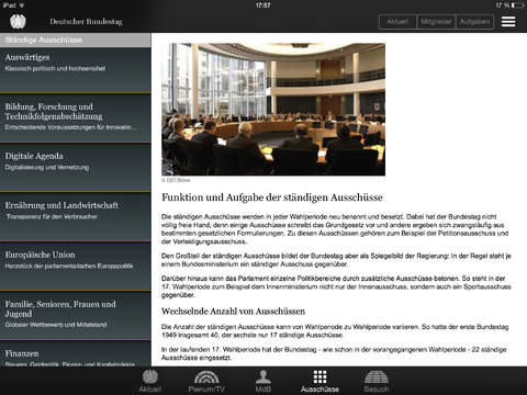 Deutscher Bundestag iPad Screenshot 3
