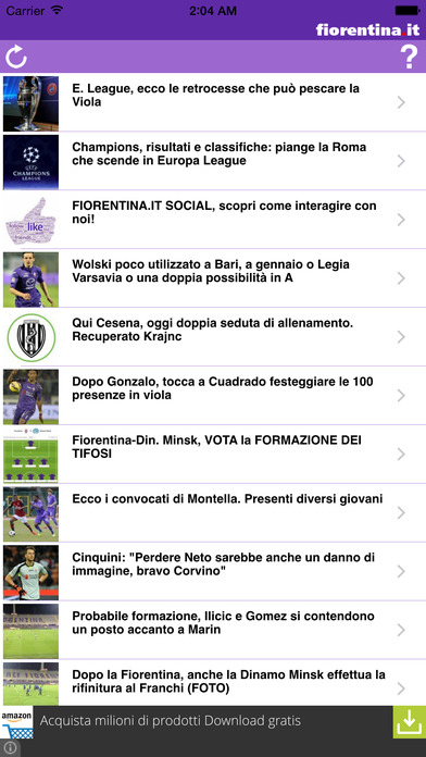 Fiorentina.it iPhone Screenshot 1