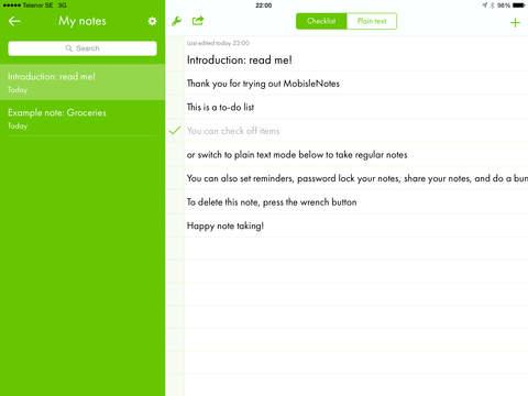 MobisleNotes iPad Screenshot 1