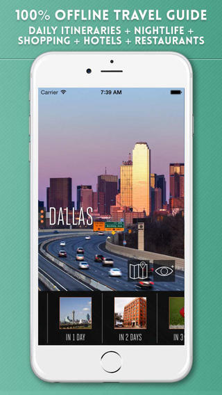 Dallas Offline Tourist Travel Guide with City Street and Metro Map