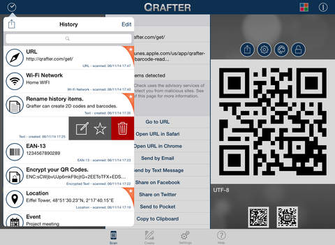 Qrafter - QR Code and Barcode Reader and Generator Screenshots