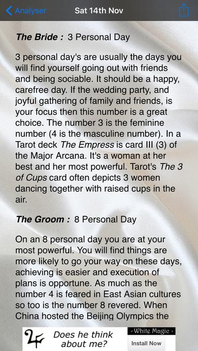 Wedding Date Numerology iPhone Screenshot 3