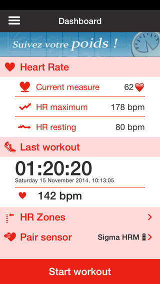 HR Tracker Calc your Heart Rate during a workout