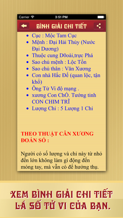 Screenshots of Lá Số Tử Vi for iPhone