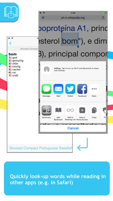 Swedish <-> Portuguese SlovoEd Compact Dictionary iPhone Screenshot 3