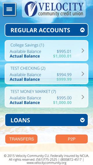 Velocity Community Credit Union Mobile Banking App iPhone Screenshot 2