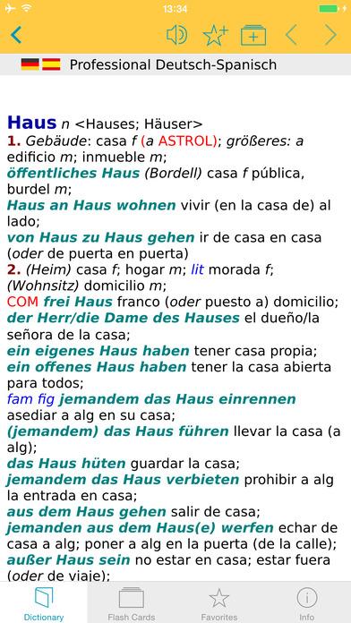 Spanish <-> German Talking Dictionary Langenscheidt Professional iPhone Screenshot 1