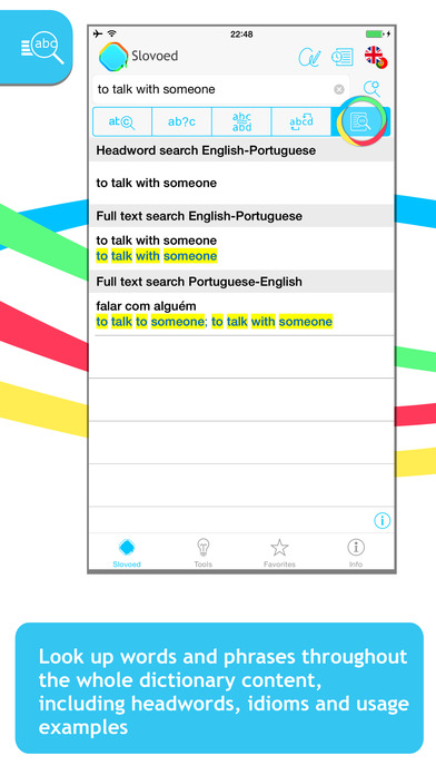 English <-> Portuguese Talking SlovoEd Classic Dictionary iPhone Screenshot 2