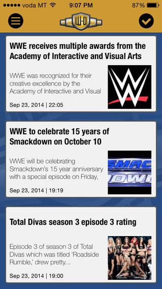Wrestling-Online.com News iPhone Screenshot 1