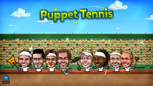 Puppet Tennis: Topspin Tournament of big head Marionette players