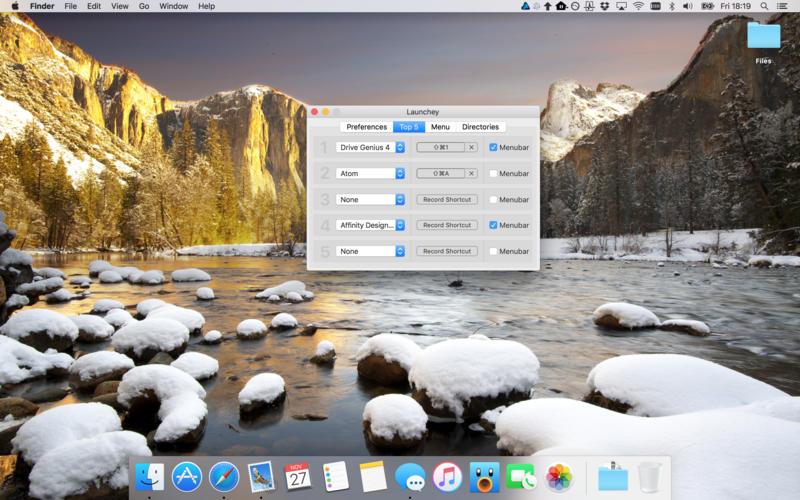 Launchey - a menubar app launcher Screenshots