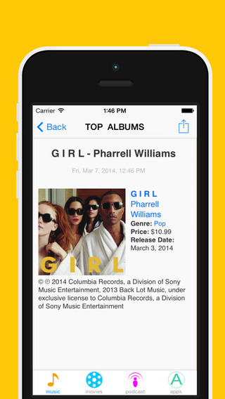 Charts + for iTunes - Music Movies Podcast Apps updated daily