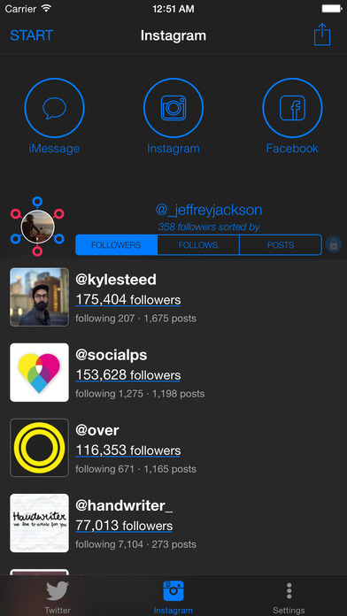 entourage.io ~ your most influential followers for twitter and instagram screenshot