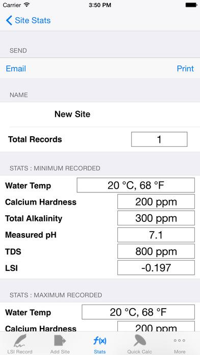 Langelier Saturation Index Calculator iPhone Screenshot 2