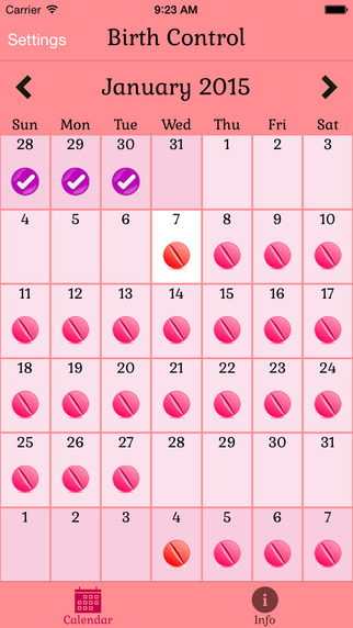 Birth Control Pills Ring or Patch Contraceptive Reminder with Calendar My Contraception at the Right