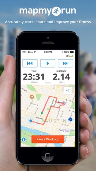 跑步时使用 Map My Run+ - 跑步 慢跑 步行 GPS,锻炼跟踪和卡路里计算器
