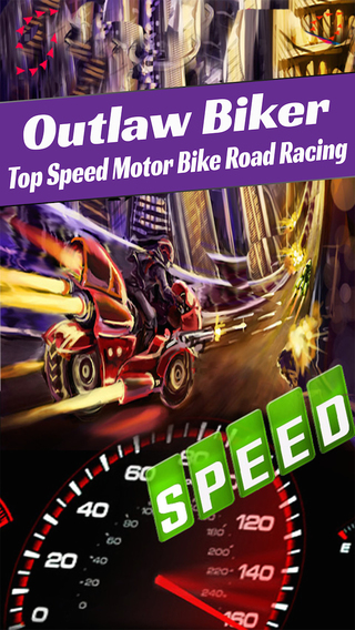 Outlaw Biker Motorcycle Race to Escape Police Car - Top Speed Motor Bike Road Racing Free