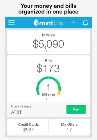Screenshot 1 Mint Bills & Money