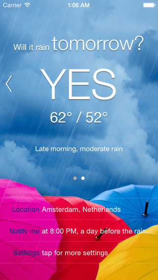 Rain Tomorrow - Rain condition and weather forecast alerts and notification