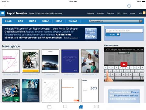 Report Investor - Der Kiosk für Geschäftsberichte und Unternehmenskommunikation iPad Screenshot 4