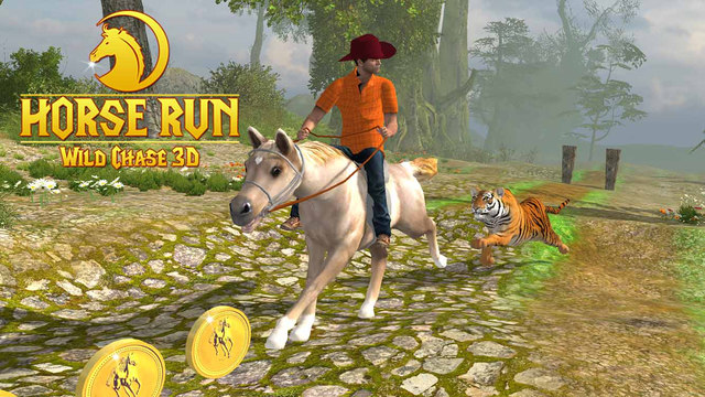 Horse Run 3D - Russian Wild Tiger Chase the Racing Equestrian in Jungle Valley