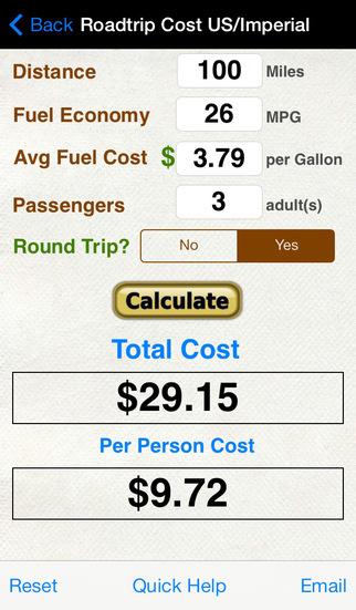 Roadtrip Gas Cost Calculator