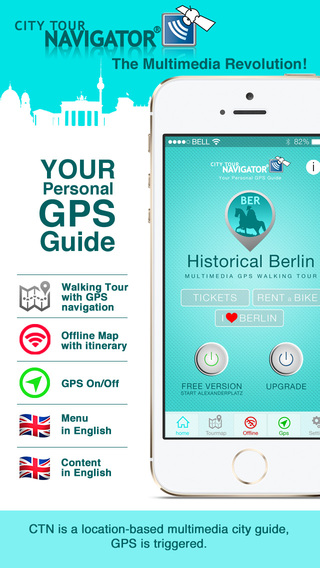 Berlin Guide: History multimedia Sightseeing Tour GPS triggered video and audioguide Offline City Ma