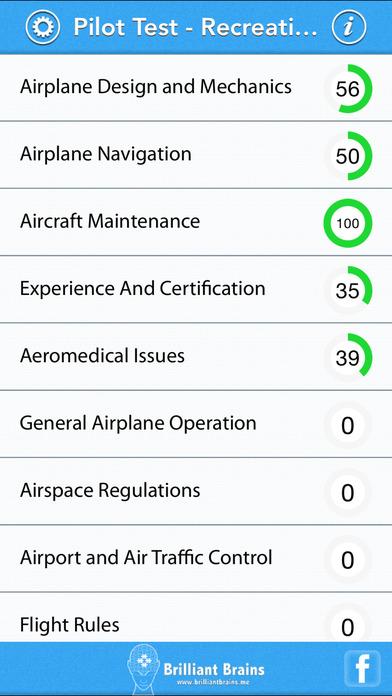 Pilot Test - Recreational Pilot Airplane (RPA) iPhone Screenshot 1