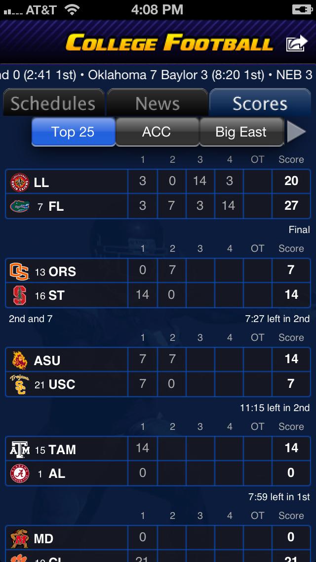 College Football Scoreboard College Football Score...