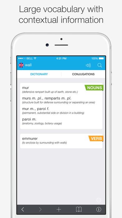 Translations: French - English Dictionary Screenshots