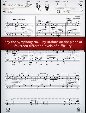 Play Brahms – Symphony No. 3 interactive piano sheet music