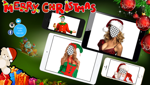 Merry Christmas Photo Booth - Make your funny xmas face with Santa Claus and Elf frames