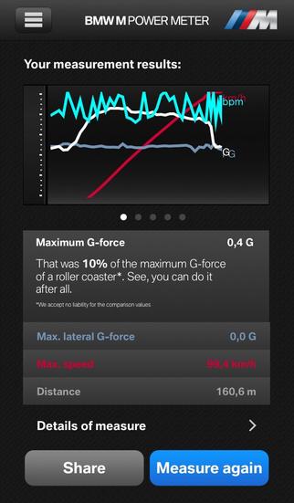 BMW M Power Meter iPhone Screenshot 2