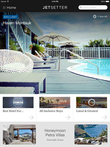 Jetsetter for iPad Hotels and Exclusive Travel Deals screenshot