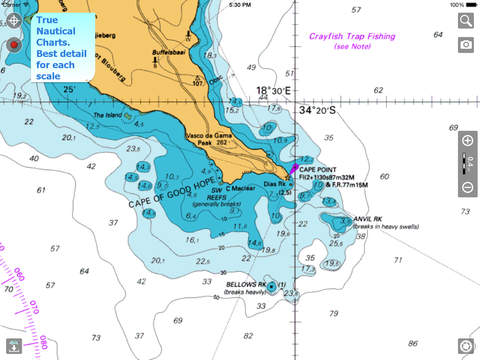 Aqua Map South Africa HD Pro - Marine GPS Offline Nautical Charts for Fishing Boating and Sailing
