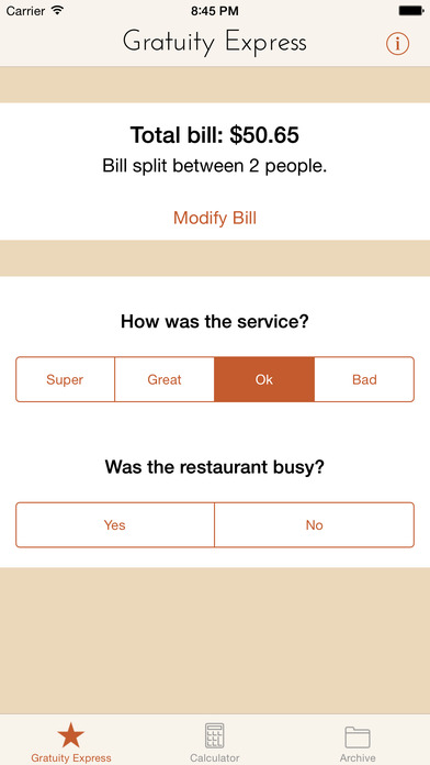 Gratuity Express: Tip Calculator screenshot
