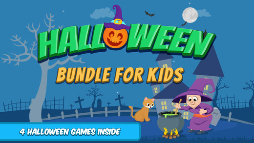 Halloween Activity Bundle for Kids : Interactive educational coloring dots matching puzzles game for
